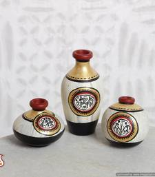Buy Miniature Terracotta floral vases with Warli paint in set of 3 vase online