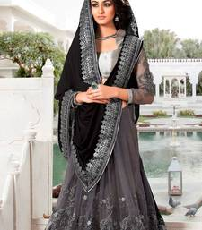 Buy black embroidered net saree with blouse wedding-saree online