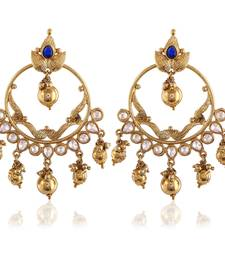 Buy Beautiful Bali Gold Finishing Blue Kundan  Dangle Earrings hoop online