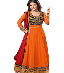 Buy Orange georgette embroidered semistitched salwar with dupatta party-wear-salwar-kameez online