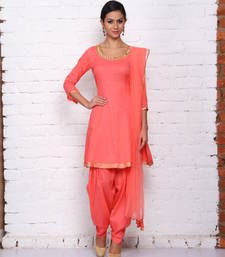 Buy coral pink cotton embroidered stitched salwar with dupatta readymade-suit online