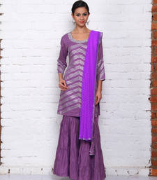 Buy purple cotton embroidered stitched salwar with dupatta readymade-suit online