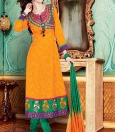 Orange indian embroidered dress materials sf17002 shop online