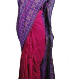 Buy Purple Checkered Saree jute-saree online