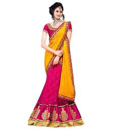 Buy pink and golden net embroidered unstitched bridal lehengas bridal-lehenga online
