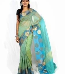 Buy Supernet cotton fancy banarasi zari border saree supernet-saree online