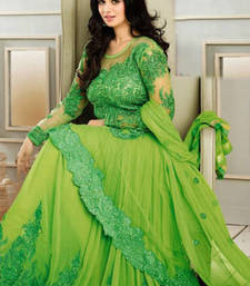 Buy Green embroidered georgette semistitched salwar with dupatta anarkali-salwar-kameez online