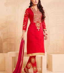 Buy Red cotton embroidered semi stitiched salwar with dupatta collar-neck-design online