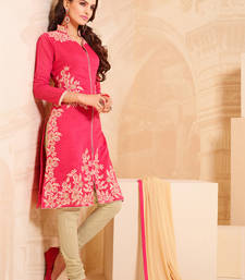 Buy Peach cotton embroidered semi stitiched salwar with dupatta collar-neck-design online