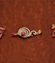 Buy Avni's designer pendent and earringswith ruby and cz stones Earring online