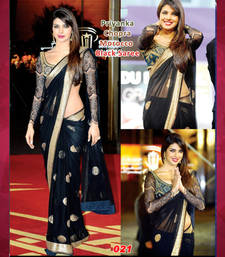 Buy Black nylon net sequence work round designs bollywood saree with unstitched sequence work blouse priyanka-chopra-saree online