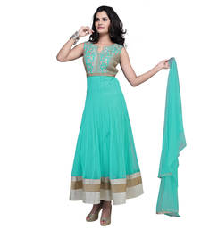 Buy Light teal green net embroidered stitched salwar with dupatta readymade-suit online