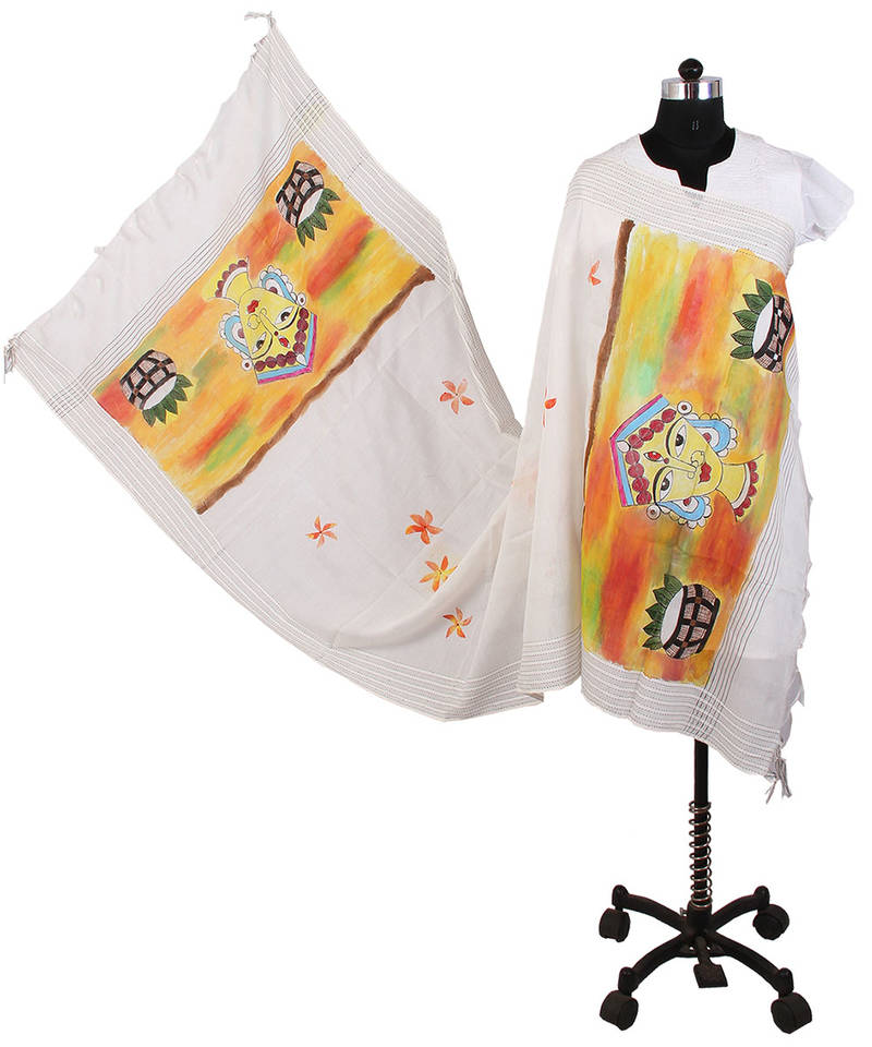 Buy Womens Cottage Off white bhagalpuri hand painted devi design with flowers all over and ...