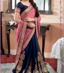 Buy pink embroidered georgette saree with blouse eid-saree online