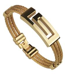 Buy Gold metallic mens accesories men-bracelet online