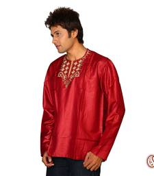 Buy Shining Red Cotton Satin Kurta with Heavy Embroidery men-kurta online