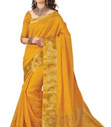 Buy yellow woven banarasi silk saree with blouse banarasi-silk-saree online