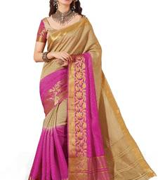 Buy beige and pink woven banarasi silk saree with blouse banarasi-silk-saree online