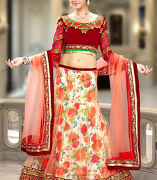 Buy Multicolor embroidered net lehenga choli lehenga-choli online