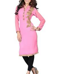 Buy Pink georgette embroidered kurti party-wear-kurti online