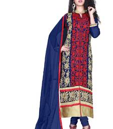 Buy Navy blue georgette embroidered unstitched salwar with dupatta dress-material online
