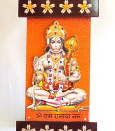 Buy Key holder decorative and wooden and handcrafted with god photo hanumanji wall-art online
