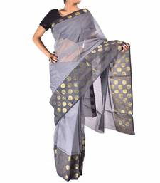 Buy Supernet cotton banarasi zari border saree christmas-gift online