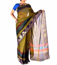 Buy Chanderi Cotton Fancy  Zari Border Saree christmas-gift online