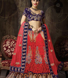 Buy Red embroidered net lehenga choli lehenga-choli online