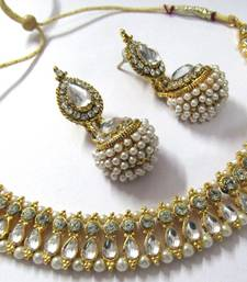 Buy White pearl gota necklace set necklace-set online