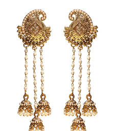 Buy Long Mango Designer Earrings with 3 Pearl Tassels jhumka online