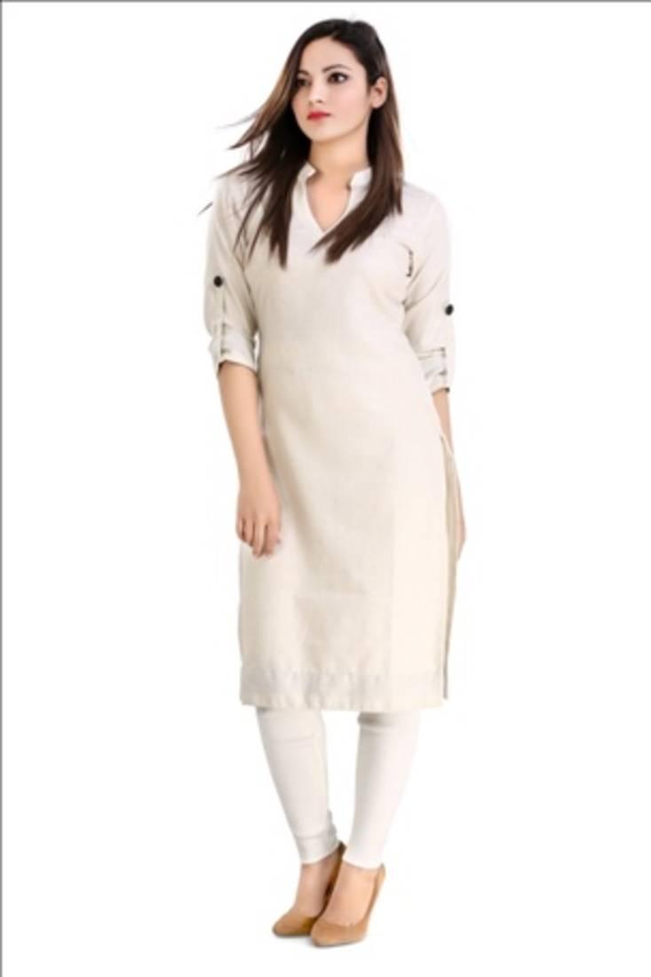 Buy White Cotton Plain Kurti Online