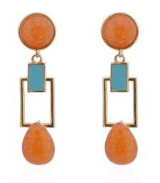 Buy Hot Apricot Squarish Crown Earrings danglers-drop online