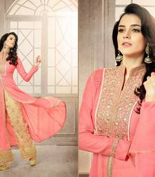 Buy Pink georgette embroidered semi stitiched salwar with dupatta party-wear-salwar-kameez online