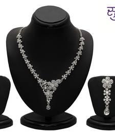 Buy Sukkhi Youthful Rhodium plated AD Stone Necklace Set necklace-set online