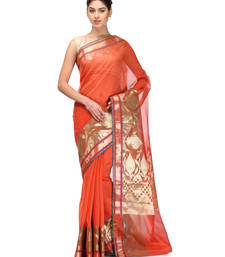 Buy rust woven super net saree with blouse supernet-saree online