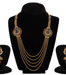Buy Sukkhi Emerald Ruby Meenakari Five String Gold Plated Mayur Necklace Set necklace-set online
