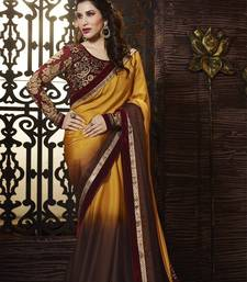 Buy gold embroidered art silk saree with blouse satin-saree online