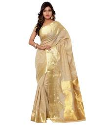 Buy Beige woven tussar silk saree with blouse tussar-silk-saree online
