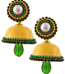 Buy Yellow teracotta and dokra jhumkas terracotta-jewelry online