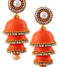 Buy Orange teracotta and dokra jhumkas terracotta-jewelry online
