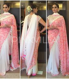 Buy pink plain velvet saree with blouse sonam-kapoor-saree online