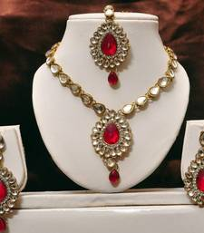 Buy Dark Pink Kundan Necklace Set necklace-set online
