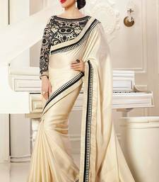 Buy White plain satin saree with blouse satin-saree online
