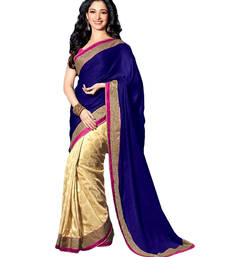 Buy blue and off white embroidred satin and chiffon saree with blouse tamanna-bhatia-saree online