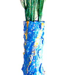 Buy Flower vase - colourfully handcrafted to brighten your interiors - blue vase online