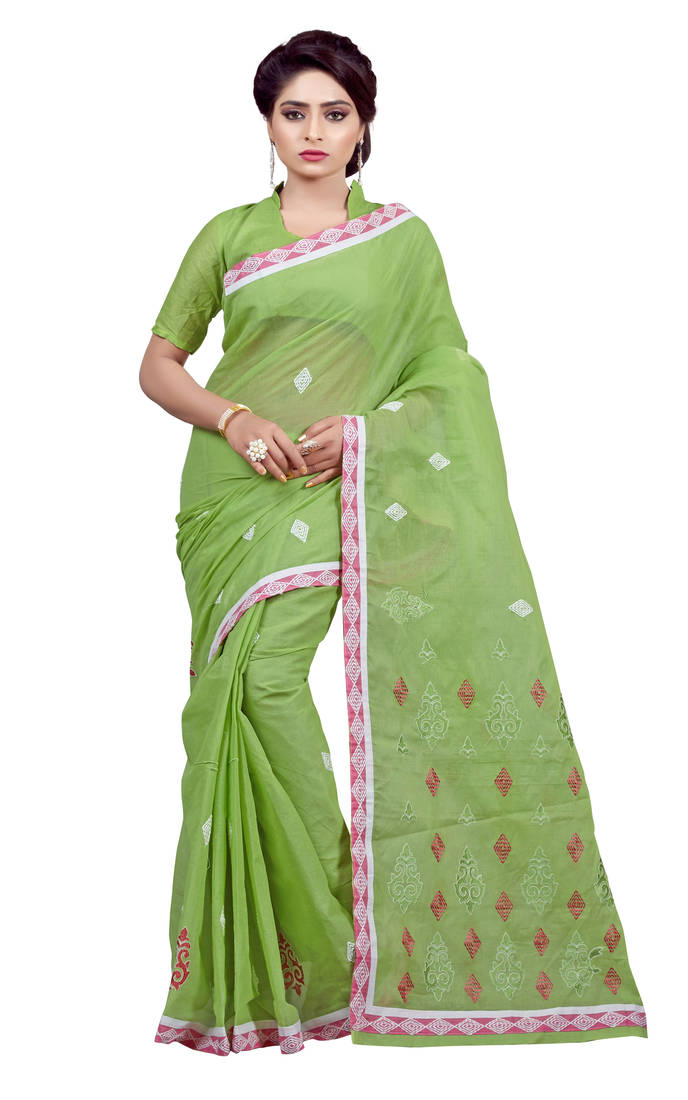 Buy Green Embroidered Cotton Saree With Blouse Online