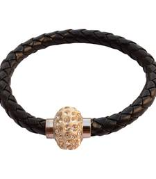 Buy Magnetic Braided & Stone Studded Black  Bracelet/Wrist Band For Men men-bracelet online