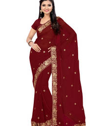 Buy maroon embroidered faux georgette saree with blouse party-wear-saree online