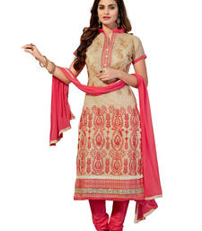 Buy Beige embroidered cotton unstitched salwar with dupatta cotton-salwar-kameez online